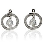 925 Sterling Silver White CZ Hoop Earrings