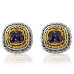 Square Design Cut Purple CZ 925 Sterling Silver Stud Earrings