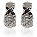 Round Design Cut  White CZ 925 Sterling Silver Hoop Earrings