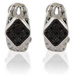 Triangle Design Cut  Black CZ 925 Sterling Silver Hoop Earrings