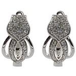 Anchor  Design Cut  White CZ 925 Sterling Silver Hoop Earrings