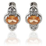 Oval Design Cut Orange and White CZ 925 Sterling Silver Hoop Earrings