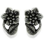 Flower Style Design 925 Silver Oxidized Stud Earrings
