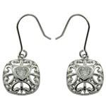 Heart Design Cut White CZ 925 Sterling Silver Hook Earrings