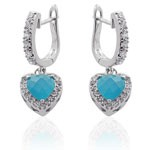 Heart Design 925 Sterling Silver Sky Blue and WhiteCZ Micro Setting CZ Earrings