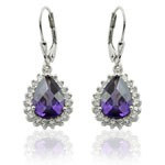 Tear Drop  Design 925 Sterling Silver  Purple and White CZ Micro Setting CZ Earrings