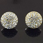 925 Sterling Silver  15 MM Crystal White Half Ball Stud Earring