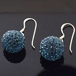 925 Sterling Silver  10 MM Crystal Blue Ball Hook Earring