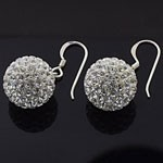 925 Sterling Silver  14 MM Crystal White Ball Hook Earring