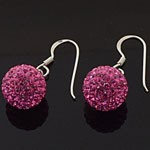 925 Sterling Silver  10 MM Crystal Pink Ball Hook Earring