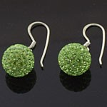 925 Sterling Silver  10 MM Crystal Green Ball Hook Earring