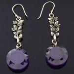 Round Design Cut Purple CZ 925 Sterling Silver Hook Earrings