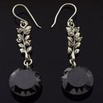 Round Design Cut Black CZ 925 Sterling Silver Hook Earrings