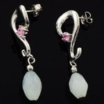 Classic Style Design  925 Sterling Silver Pink and  White CZ  Earrings