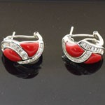 Red Coral with White CZ 925 Sterling Silver Earrings