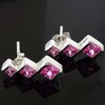 3 Zigzag Princess Cut Pink CZ 925 Sterling Silver Stud Earrings