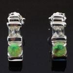Green Opal White CZ 925 Sterling Silver Stud Earrings