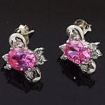 Ovall Cut Pink White CZ 925 Sterling Silver Stud Earrings