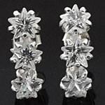 3 Stars White CZ 925 Sterling Silver Stud Earrings