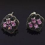 Oval Cut Pink CZ Marcasite 925 Sterling Silver Stud Earrings