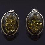 Oval Cut Green Amber 925 Sterling Silver Stud Earrings