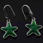 Star Shape Green Enamel 925 Sterling Silver  Hook Earrings