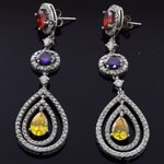 Ippolita Rock Candy Design White CZ  925 Sterling Silver  Mix Color  stup Earrings