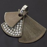 Classic Style Design 925 Sterling Silver Black Rhodium and White CZ Pendant