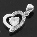 Heart Design 925 Sterling Silver White CZ Pendant
