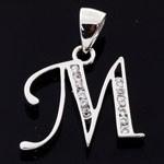Alphabet M 925 Sterling Silver White CZ Pendant