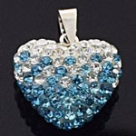 925 Sterling Silver Heart Crystal Pendant