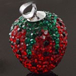 925 Sterling Silver Strawberry  Crystal Pendant