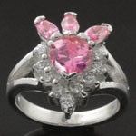 Heart Design Cut Pink and White CZ 925 Sterling Silver Ring