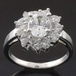 Oval Design Cut  White CZ 925 Sterling Silver Ring