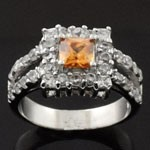 Square Design Cut  Orange and White CZ 925 Sterling Silver Ring
