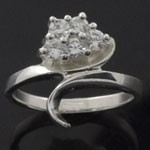 Exquisite Artistic Cut White CZ 925 Sterling Silver Ring