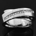 Elegant New Design White CZ 925 Silver Micro Pave Ring