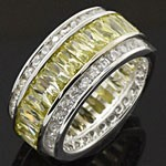 Channel Setting 925 Sterling Silver White and Green CZ Ring