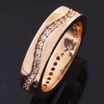 Pink Gold Plated Milgrain Eternity  White CZ 925 Sterling Silver Band Ring