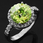 925 Sterling Silver Green and White  CZ Cocktail Ring