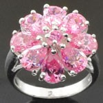 Flower Design Cut  Pink CZ 925 Sterling Silver Ring