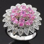 Flower Design Cut  Pink and White CZ 925 Sterling Silver Ring