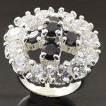 Exquisite Artistic Design Cut Black and White CZ 925 Sterling Silver Ring