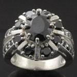 Elegant Vintage Style Design Cut Black and  White CZ 925 Sterling Silver Ring