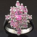 Elegant Vintage Style Design Cut Pink CZ 925 Sterling Silver Ring