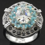 Exquisite Artistic Design Cut Sky Blue and White CZ 925 Sterling Silver Ring
