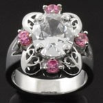 Elegant Vintage Style Design Cut Pink and White CZ 925 Sterling Silver Ring