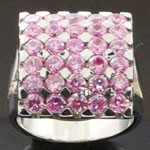 Exquisite Artistic Design Cut Pink CZ 925 Sterling Silver Ring