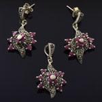Geniune Ruby Marcasite 925 Sterling Silver Jewelry Set
