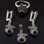 Black Onyx with  Marcasite 925 Sterling Silver Danglng Jewelry Set